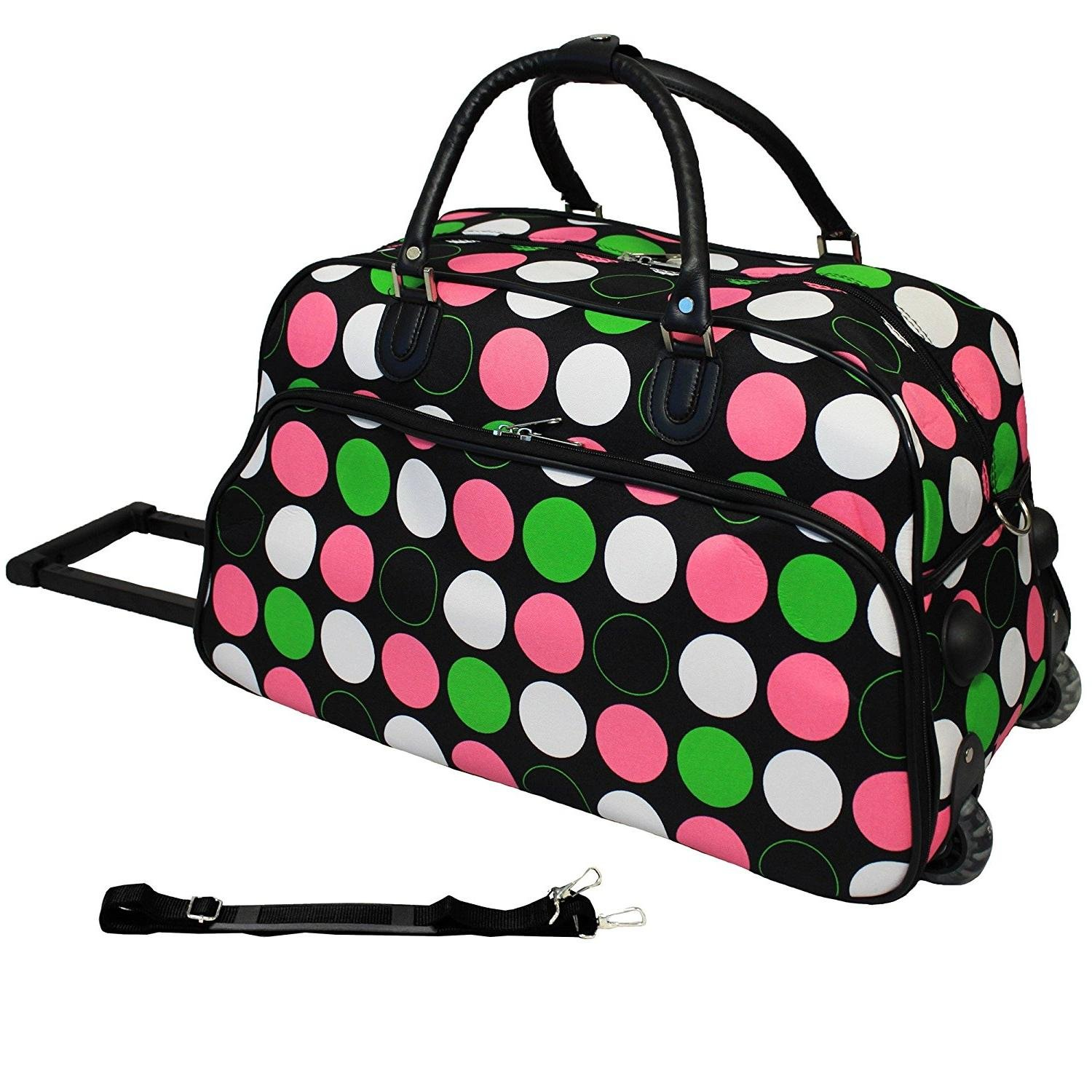 Girls Pink Green Polka Dots Pattern Wheeled Duffle Bag Upright Rolling  Duffle d3ec410d3021f