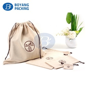 Wholesale Customised design Natural Linen cotton bag jute Pouch with drawstring