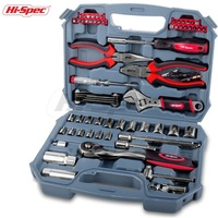 Hispec 67 Piece METRIC Car Repair Tool Kit Garage Tool Set for Vehicle Repair with a plastic tool box case