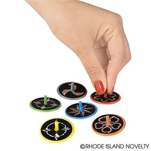 """~ 144 (1 Gross) ~ Spin Tops with Laser Stickers ~ 1.5"""" Plastic ~ 12 Packages of 12 Each ~ New ~ Fun Party Favors!"""