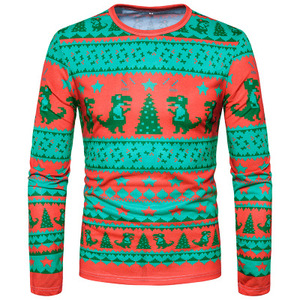 Drop shipping MOQ 1 wholesale men long sleeve 3d printing winter xmas t shirt