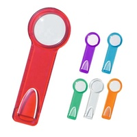 Mini pocket size multi-function 3-in-1 transparent red color durable plastic bookmark scale ruler functions of magnifying glass