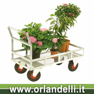 4 wheel towing metal wagon nursery landscaping cart flowers and plants trolley