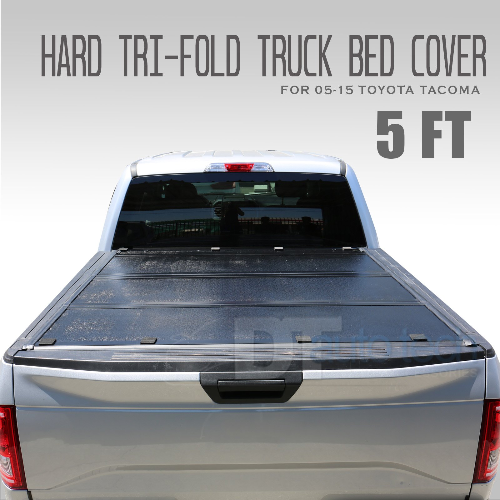bf27b67e405 Get Quotations · Syneticusa 2005-2015 Tacoma New 2nd Generation Lock Hard  Solid Tri-Fold Tonneau Cover