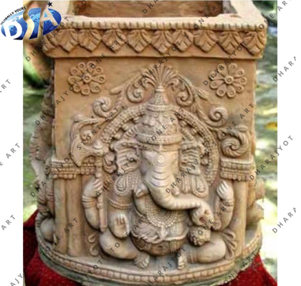 Yellow sandstone ganesha sculpture tulsi pot buy ganesh sculpure