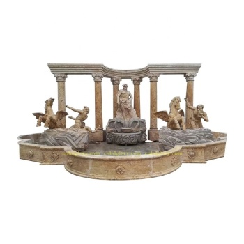 Hot Selling Stone Roman Column Marble Poseidon Water Fountain