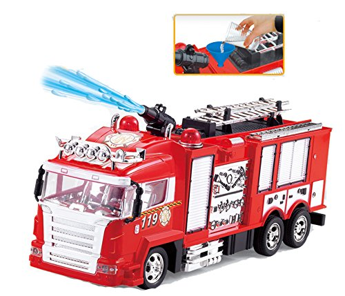 Liberty Imports R/C Rescue Fire Engine Toy Truck - Radio Control RC Fire Truck with Working Water Pump Shoots and Squirts Water