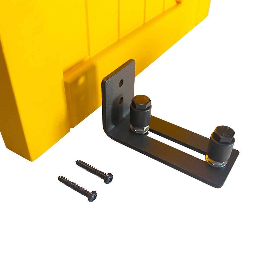 Hahaemall Black Adjustable Powder Coated Bottom Floor Guide Stay Roller For Sliding Barn Door Hardware (1 PC)