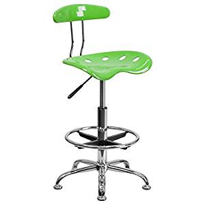Apple Green Drafting Stool with Tractor Seat and Chrome Frame By TableTop king