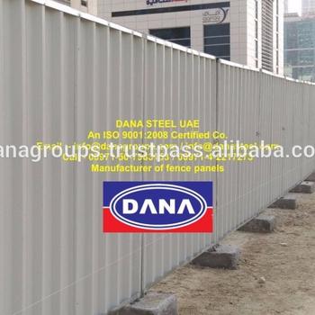 Construction Site Fence Shinko Hoarding Panel Supplier In Dubai Ajman  Sharjah Abu Dhabi - Dana Steel - Buy Prefab Iron Fence Panels,Galvanized  Steel