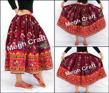 94b8c0307 Indio Kutch mano de algodón bordada falda gitana tribal BANJARA falda indio  bordado a mano rabari