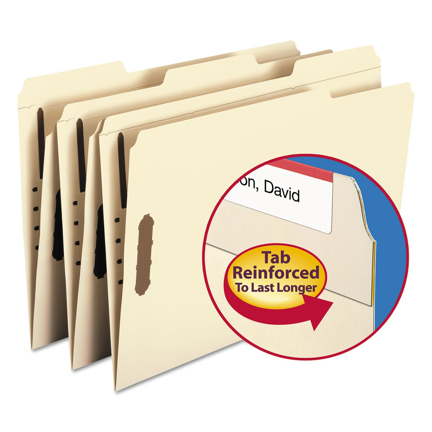 Recycled Manila Two-Ply Top Tab File Folders with Fasteners, Legal Size (SMD19547) by Smead