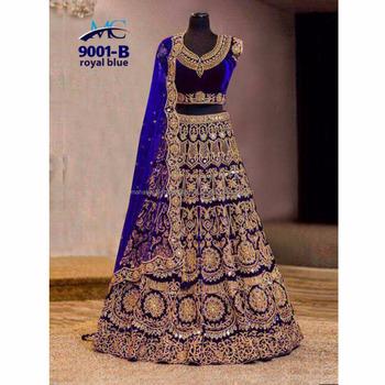 Exclusif Lourd Indien Design Vêtements De Mariage De Mariée Ghagra