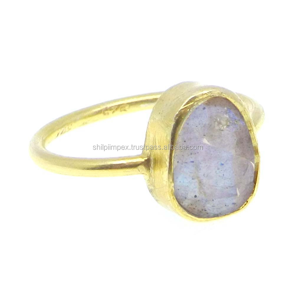 Fiery Labradorite 925 sterling silver 18k gold plated fancy bezel set ring SIRG1619