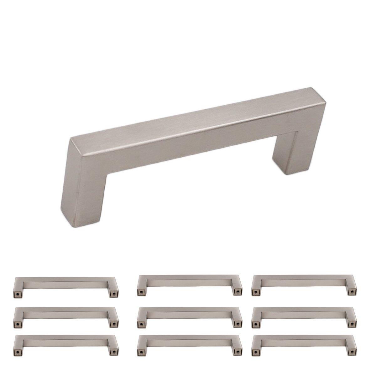 96mm Cabinet Handle 3 3/4 Cabinet Pulls Brushed Nickel 10 Pack - homdiy HDJ12SN Dresser Drawer Pulls Square Drawer Handles Modern Cabinet Hardware Kitchen Cabinet Handles Stainless Steel