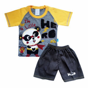 Raglan Sleeve Baby Clothes Set for Baby Boy Panda Printing T-shirt with Jeans SKCO2180M