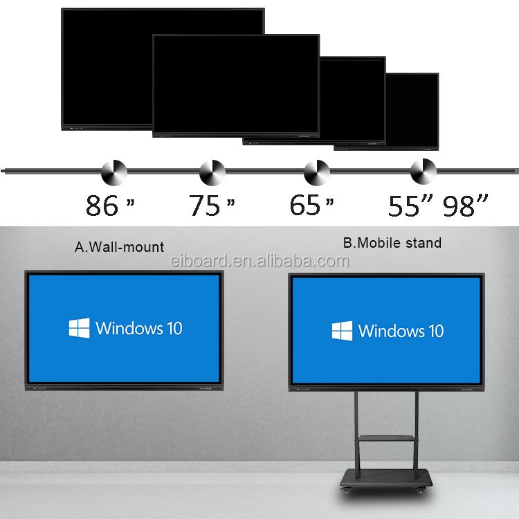 """65 """"75"""" 86 """"98"""" UHD อินเตอร์แอคทีทีวีไวท์บอร์ดแบบสัมผัสหน้าจอพร้อมขาตั้งสำหรับเด็ก"""