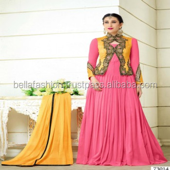 Modern Designer Embroidered Worked Anarkali Style Long Straight