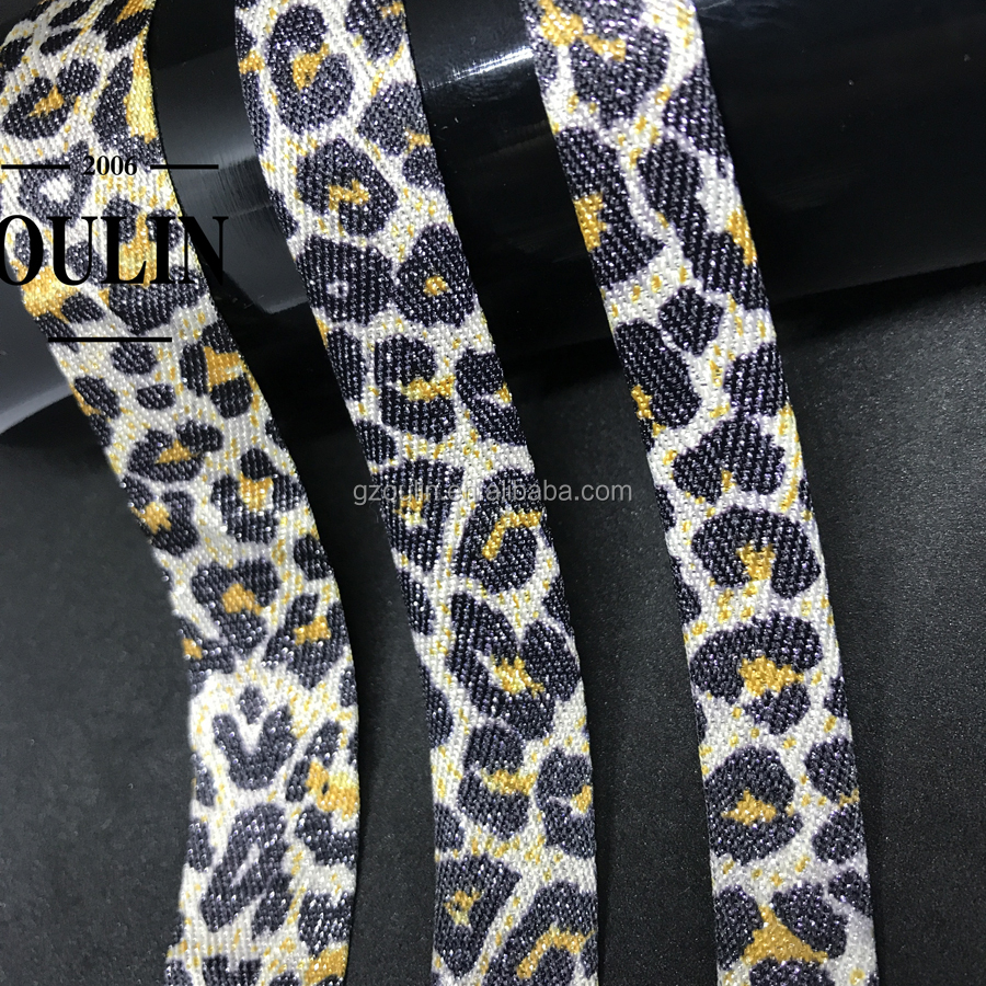 Leopard print ribbon different colors design tape cotton fabric tape using on fashion garments or pants