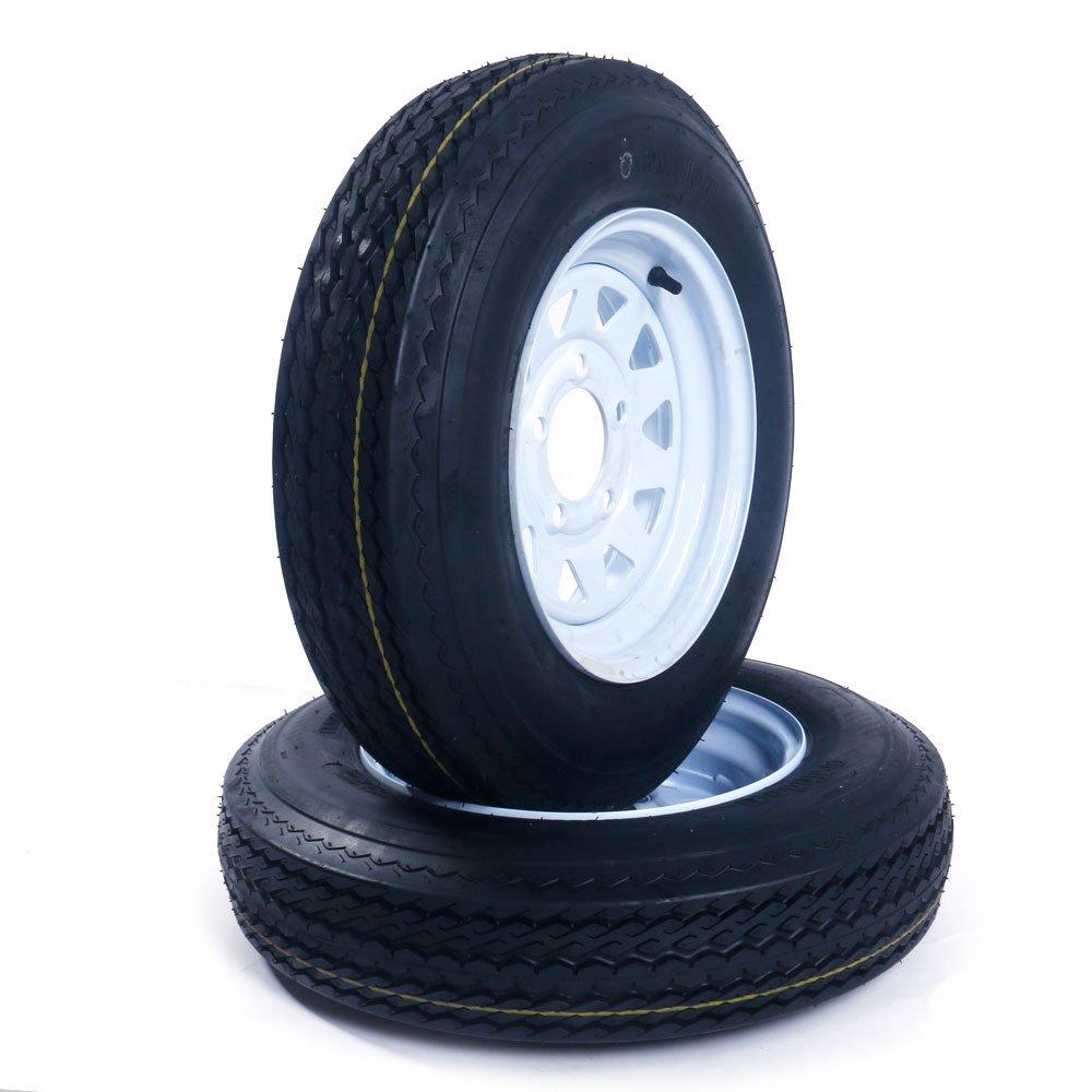 "Set of 2 12"" Trailer Tires Rims 530-12 5.30-12 5.30 x 12 LRC 5 Lug/4.5"" Hole Bolt White Spoke Wheel"