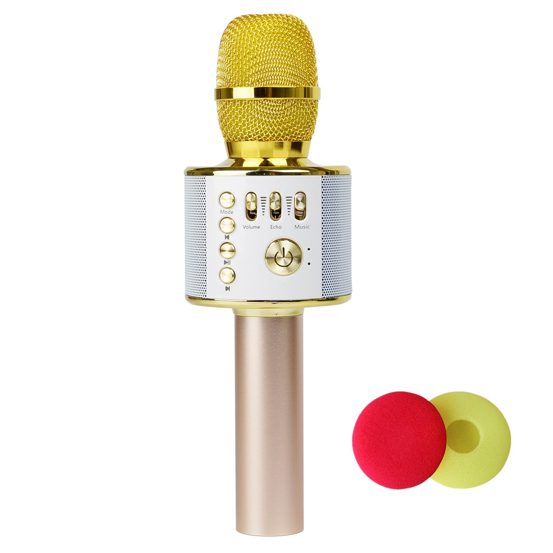 iKuShang Wireless Bluetooth Karaoke Microphone,3-in-1 Portable Handhold Karaoke Mic Speaker Karaoke Player for Apple iPhone Android PC & all Smartphones (gold)