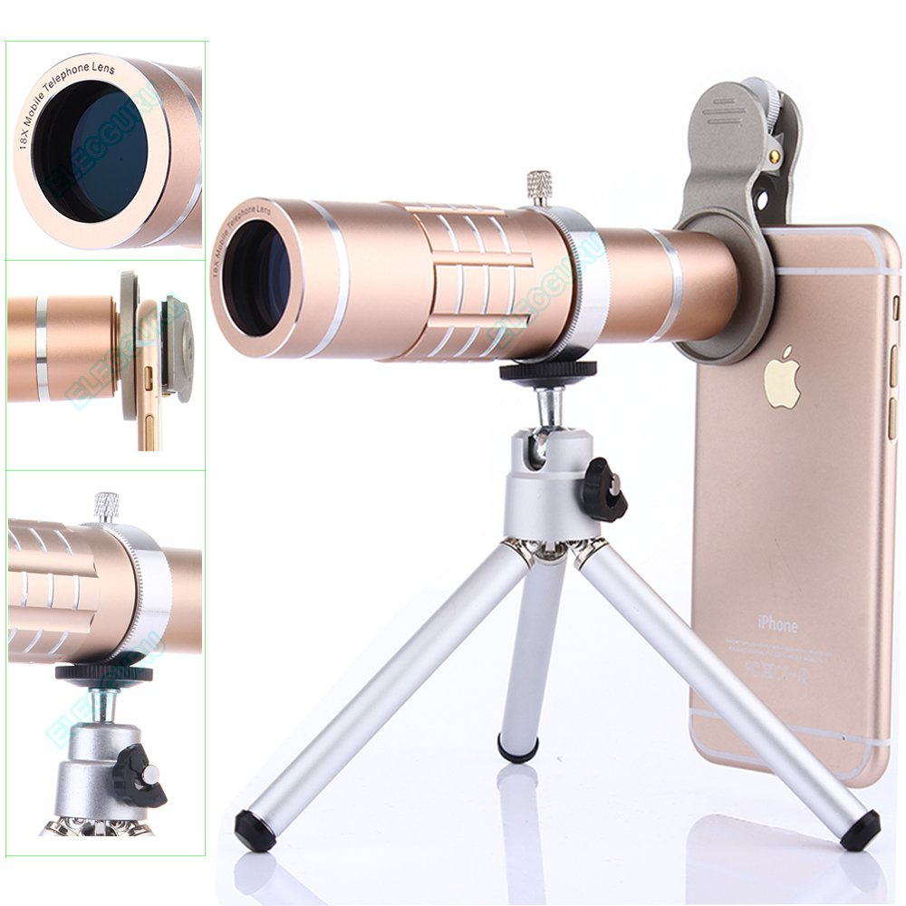 Cell Phone Camera Kit,18X Telephoto Lens Super+ 0.45X Wide Angle Lens +15X Macro Lens with Mini Flexible Tripod and Universal Clip 3 in 1 Lens Kit for iPhone Samsung Most Smartphone