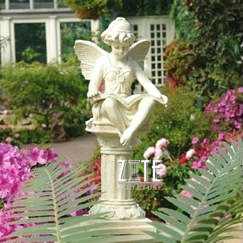 Outdoor sitting cherub statue white marble reading book baby angel sculpture