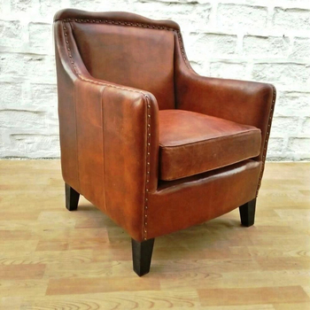 Club Leather Armchair,Vintage Leather Single Seater Sofa Chair - Buy ...