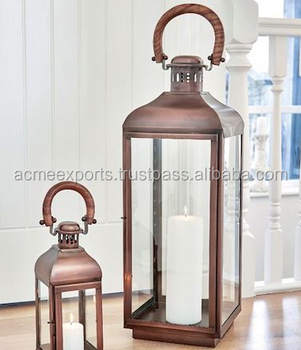 Big Metal Lantern in Copper Antique Finish Stainless Steel Lantern Hot Sale