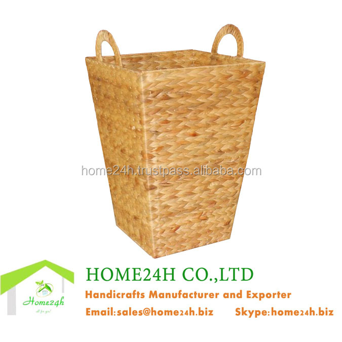 Handmade Best selling Water Hyacinth or Seagrass Home basketWicker Laundry Basket, Water Hyacinth Natural Metal Frame Basket