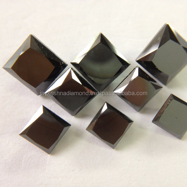 Natural Loose Black Princess Cut Diamonds For Ring Jewelry