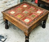 Antique Handmade Coffee Painted Carved Table (TA-001005)