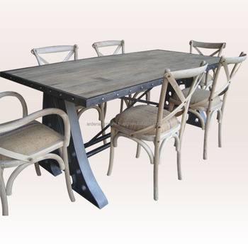 Industrial Chic Style Dining Table Set Dining Room Furniture Buy Wrought Iron Dining Table Set Dining Table Set Wooden Industrial Chic Furniture