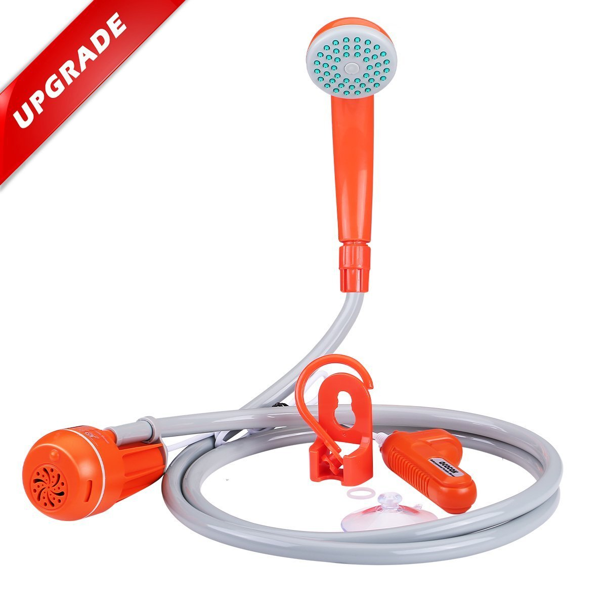 Portable Camping Shower,Acetek Upgraded USB Rechargeable Battery Powered Outdoor Handheld Shower with 2200mAh Battery Pack, 200cm Hose Shower Head for Outdoor Backpacking Travel, Camping, Hiking,Garde