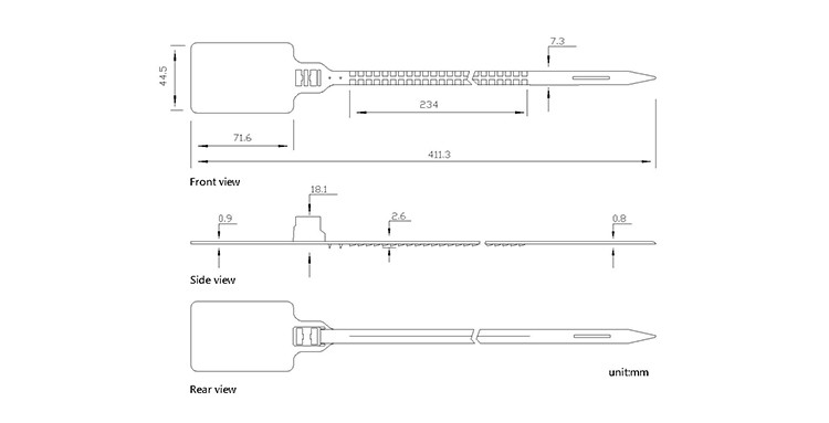 TX-PS201 plastic lock strip seal CAD