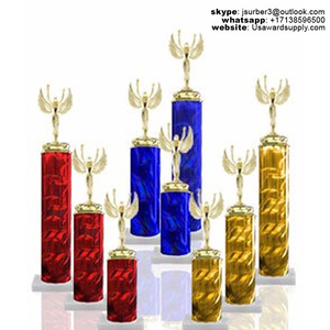 Pre Assembled Wide Column Trophy with Marble Base and Gold Figurine