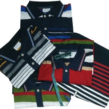 Engineering Stripe 100% Cotton Custom Design Men's Polo Shirts In Stock