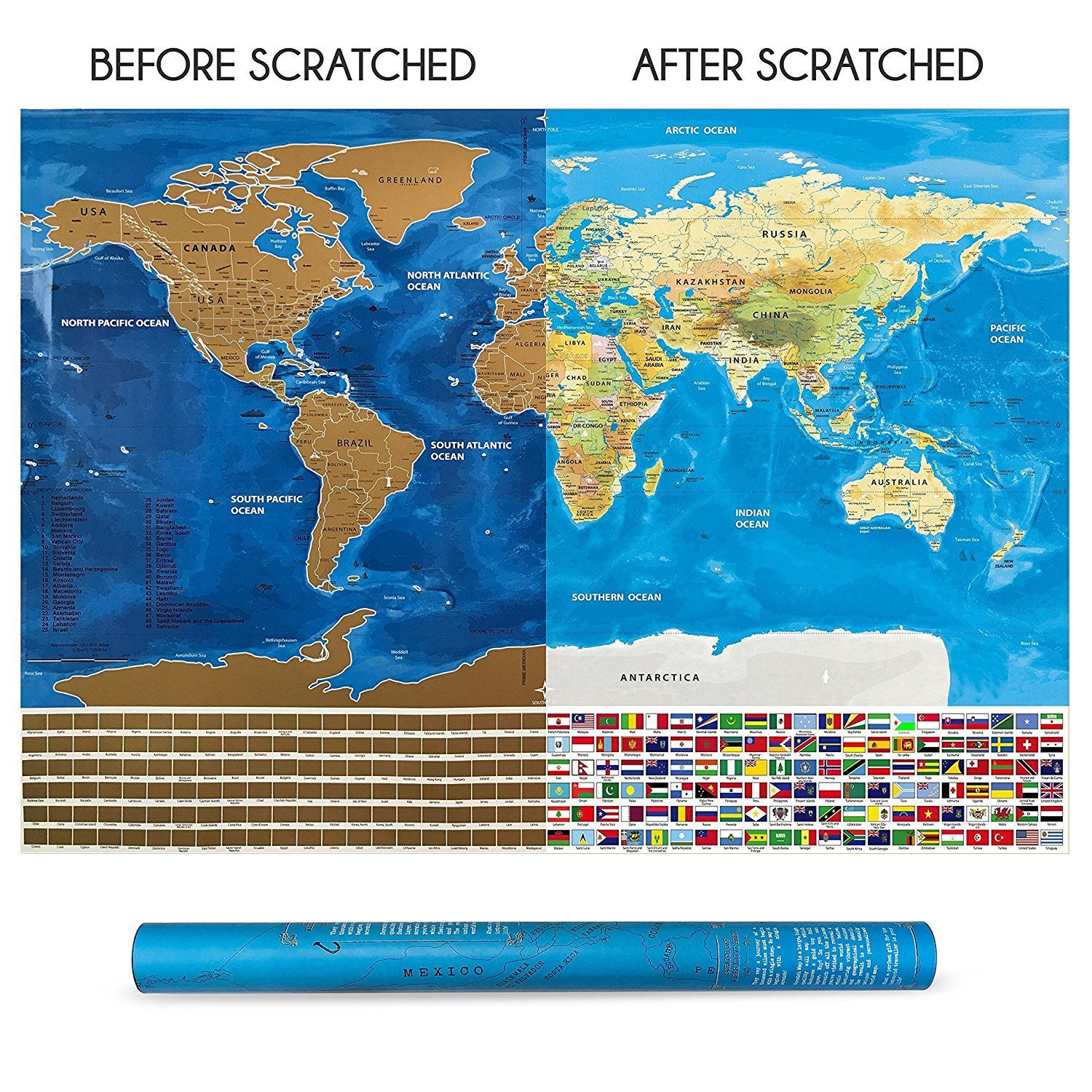 Scratchable World Map-By Vagabond-Scratch Off Map with Country Flags, Detailed US States - Scratch Off World Map - LARGE colorful 32 x 22.5 inches Poster size - Perfect Gift for the Traveler!
