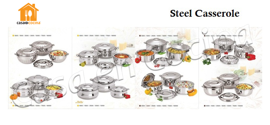 Stainless Steel Hot Pot Casserole Set 1L 2L 3L Food Warmer Container