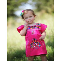 Vintage Look Peasant Cotton Summer Natural Mexican Style Baby Delicate Hand Embroidered Fuchsia and Trim Clothing Children Dress