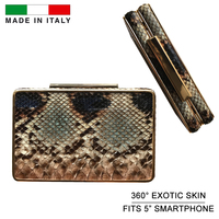 Genuine Python Leather Snakeskin Women Clutch Bag Metal Frame Minaudiere Ladies Handbag Luxury High End Made in Italy