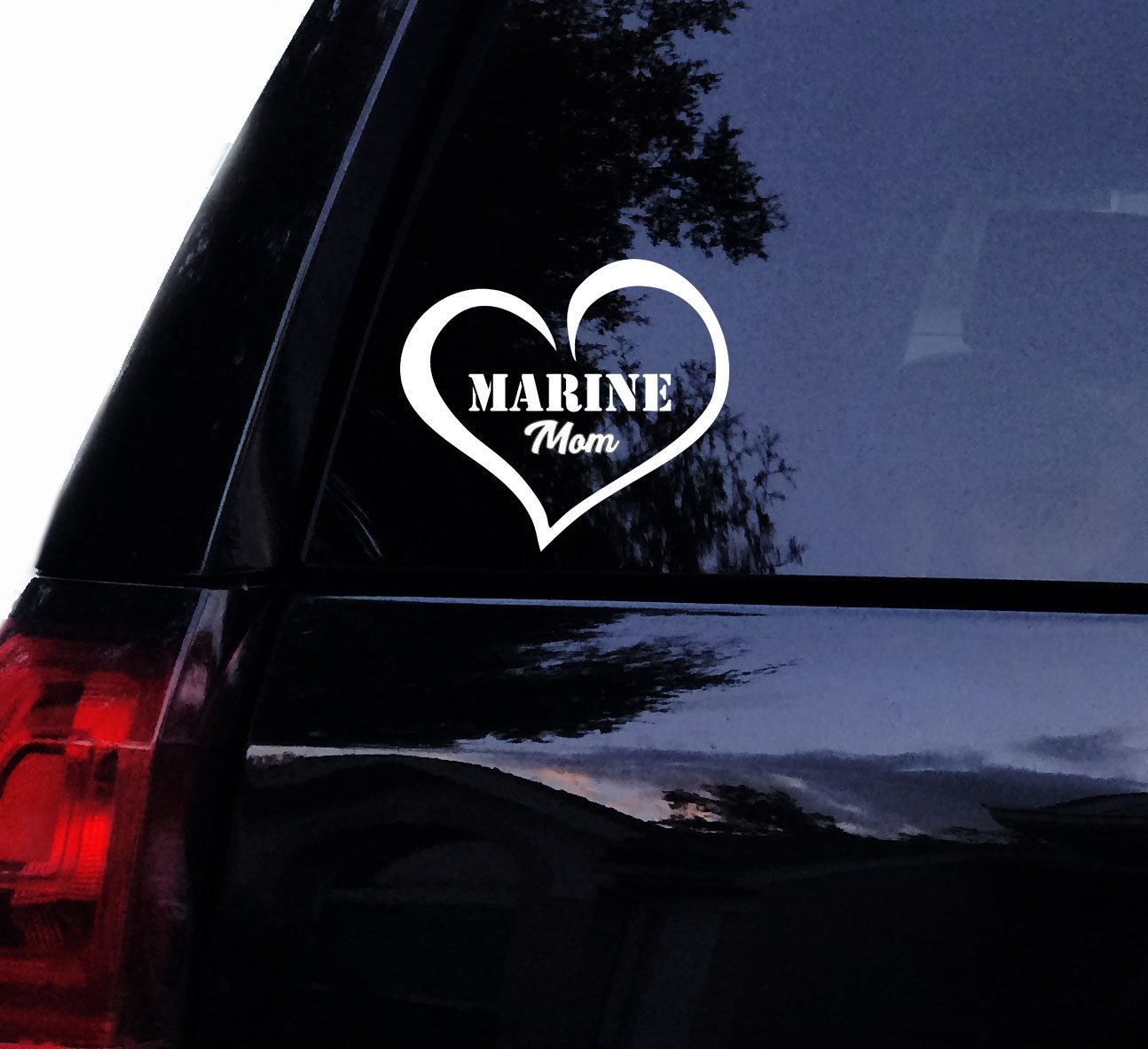 f91b45bb6b7 Get Quotations · MARINE Mom Love Decal Sticker - Military Mom Heart Marines  Vinyl Car Decal, Laptop Decal