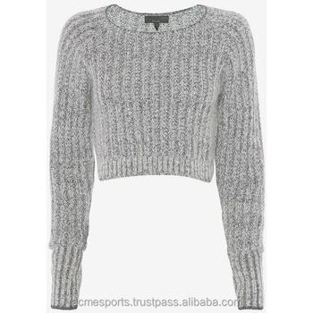 Ladies crop top sweaters - Cotton crew neck women s sweater wholesale plain  gray crop tops with 7dd1ca3223