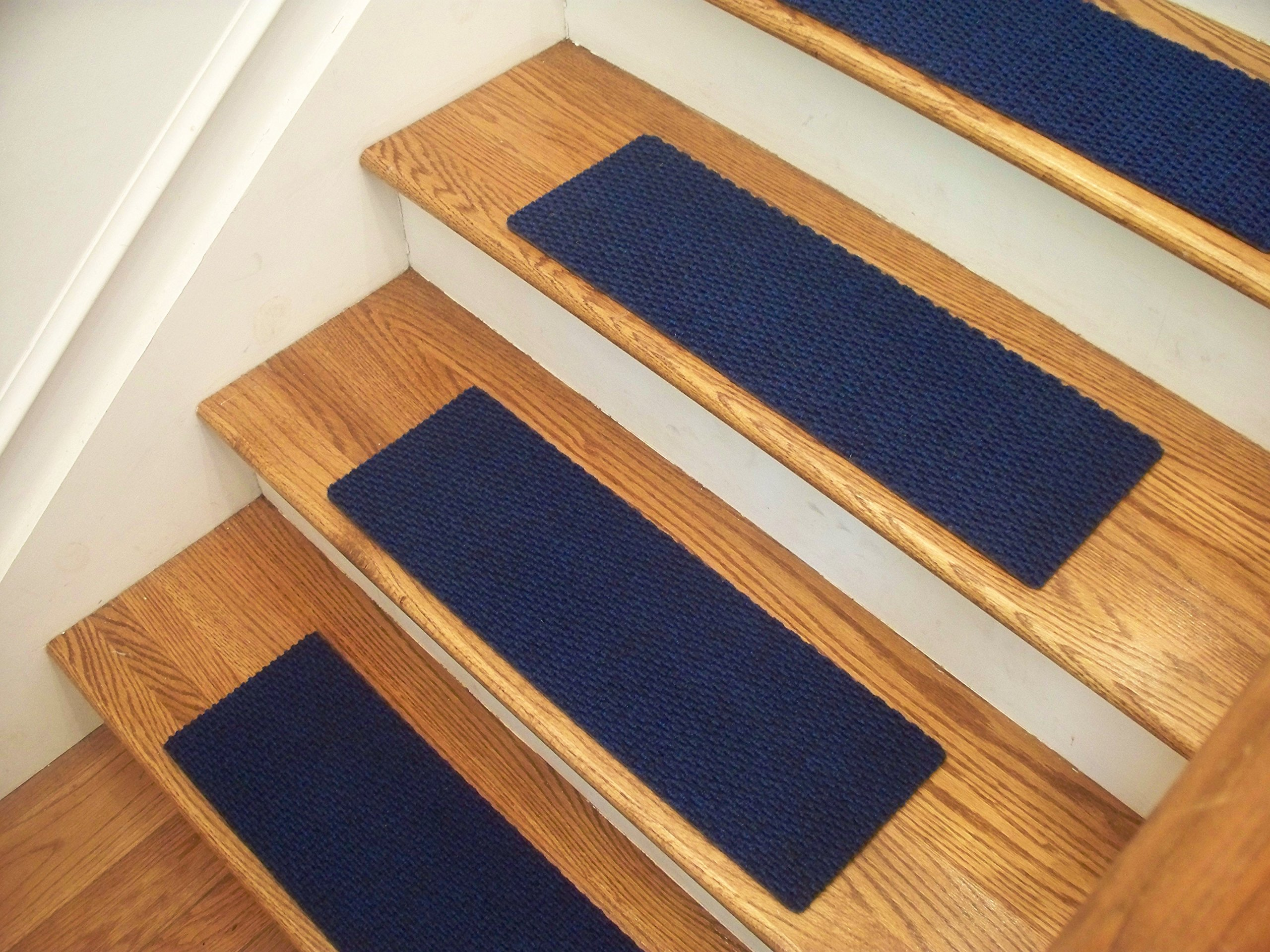 """Essential Carpet Stair Treads - Style: Berber - Color: Blue - Size: 24"""" x 8"""" - Set of 13"""