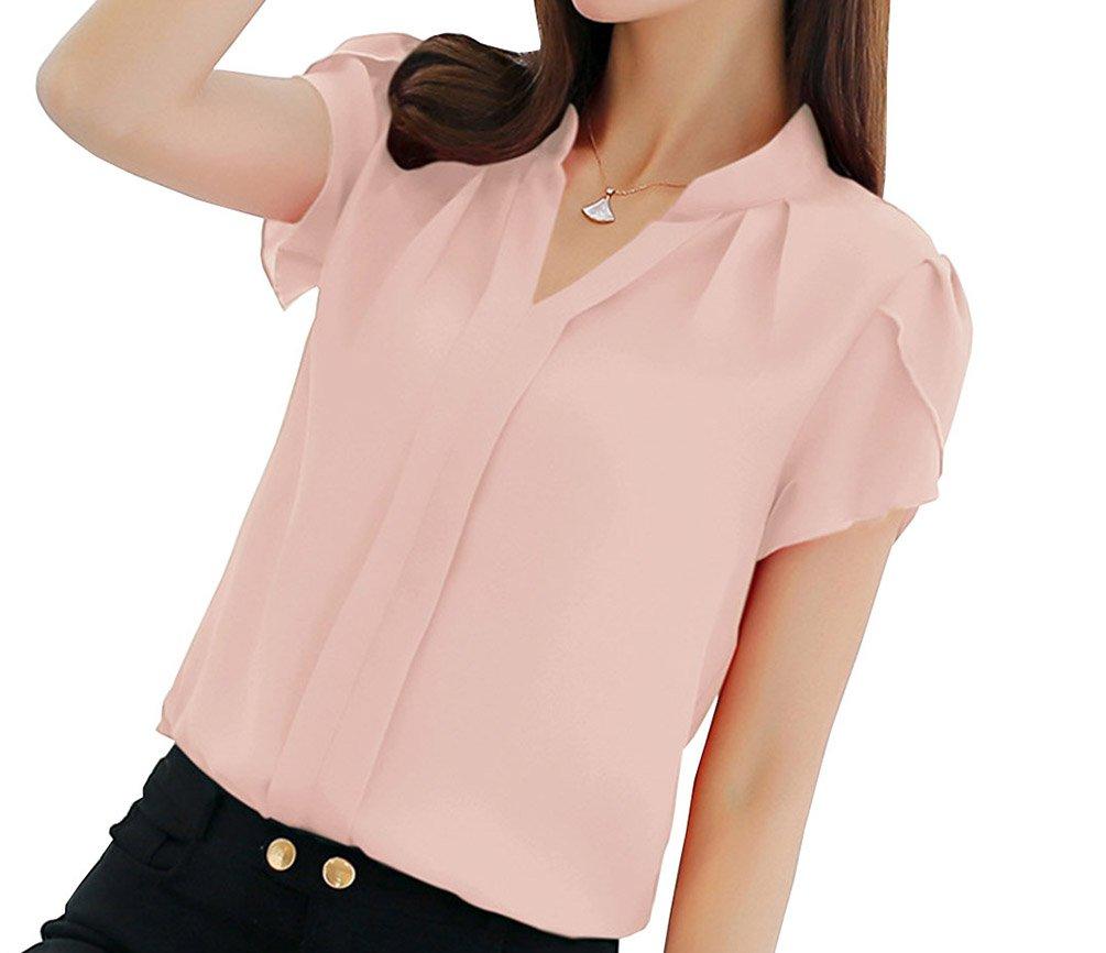 7dd969dc Get Quotations · UbdehL Women's Polyester Blouse Short Sleeve V Neck Petite  Elegant Shirt Korean Fashion Wear to Work