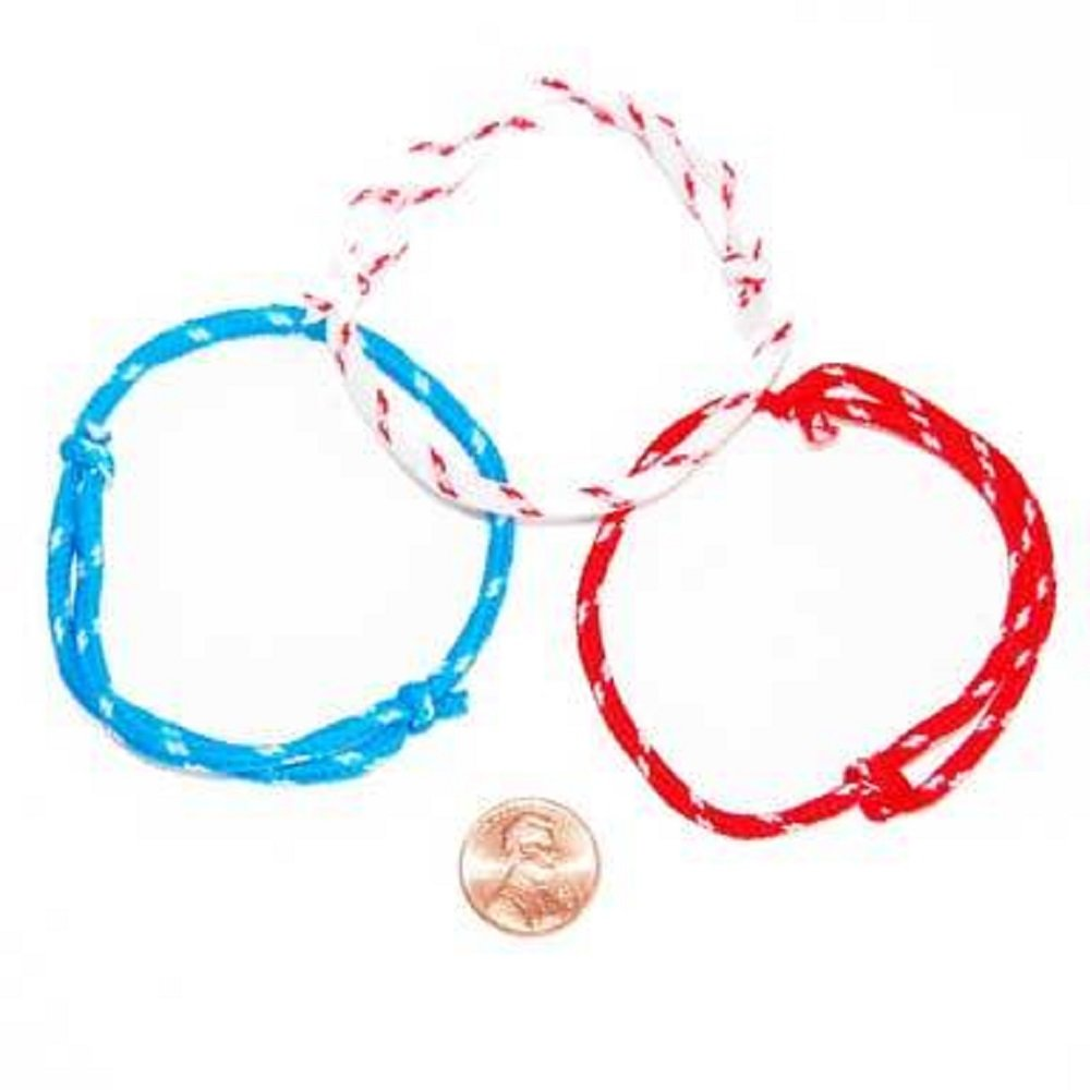 72 Piece Bulk Pack Patriotic 4th of July Wristband Red Blue and White Bracelets for Kids Party Favors