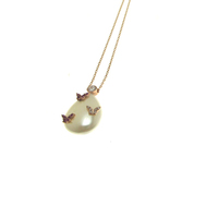 Three butterflies on pearl gemstone,pendant silver necklace for Women's