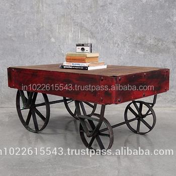Industrial Rustico In Legno E Ferro Tavolino Con Ruote,Vintage Ferro ...