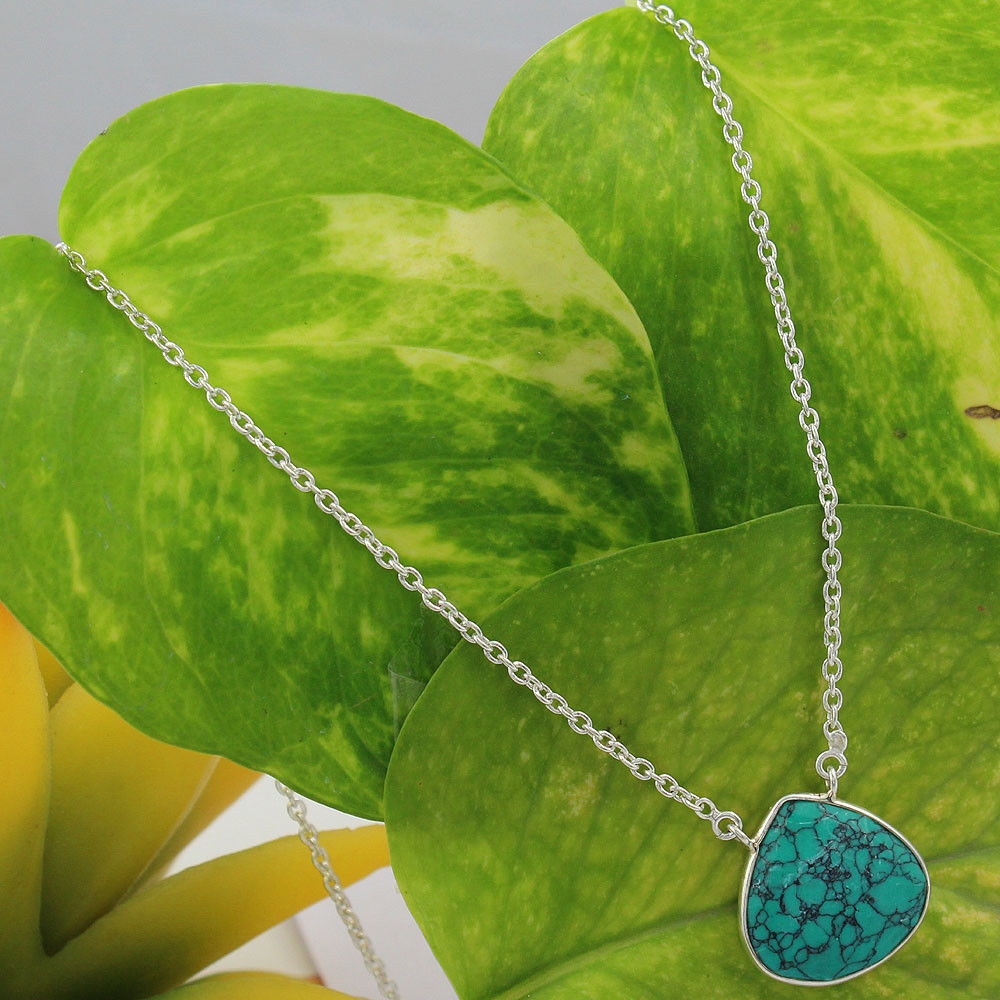 Shining turquoise gemstone 925 sterling silver chain necklace wholesale online gemstone silver jewelry
