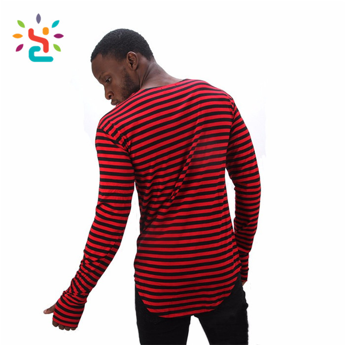 f9e14bc4efc 2019 White Black Red Striped T-shirt Wholesale Fashion Brand Summer  Oversize Extend T Shirts Designer Finger Long Sleeve Tees - Buy White Black  ...